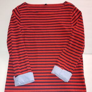 J Crew Cuffed Striped Boatneck blouse Size XL